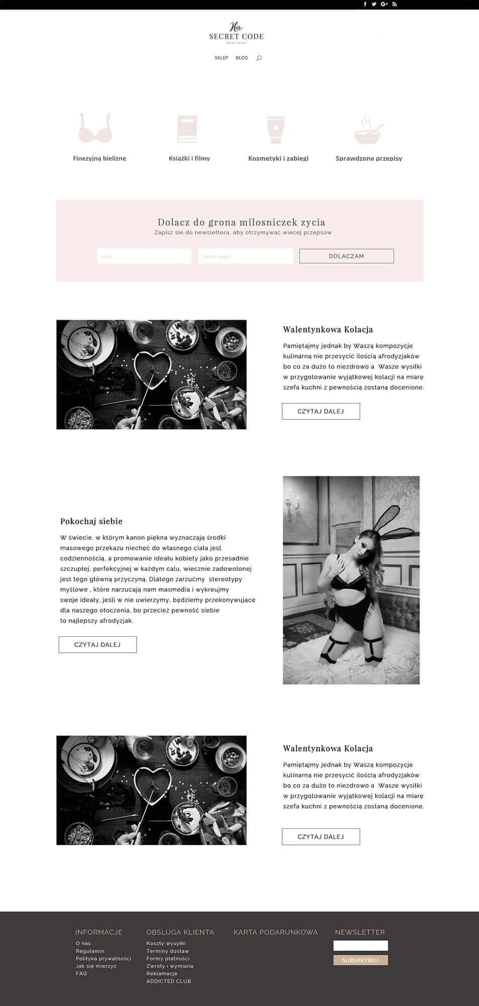 Her Secret Code - Blog Page Design