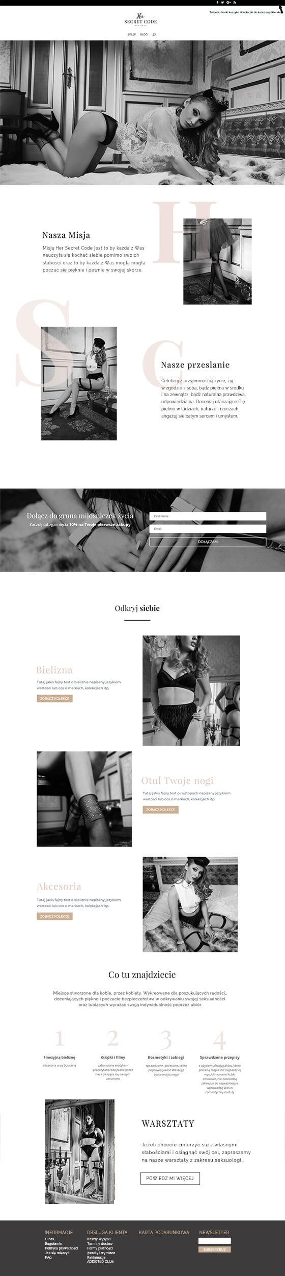 Her Secret Code - Website design