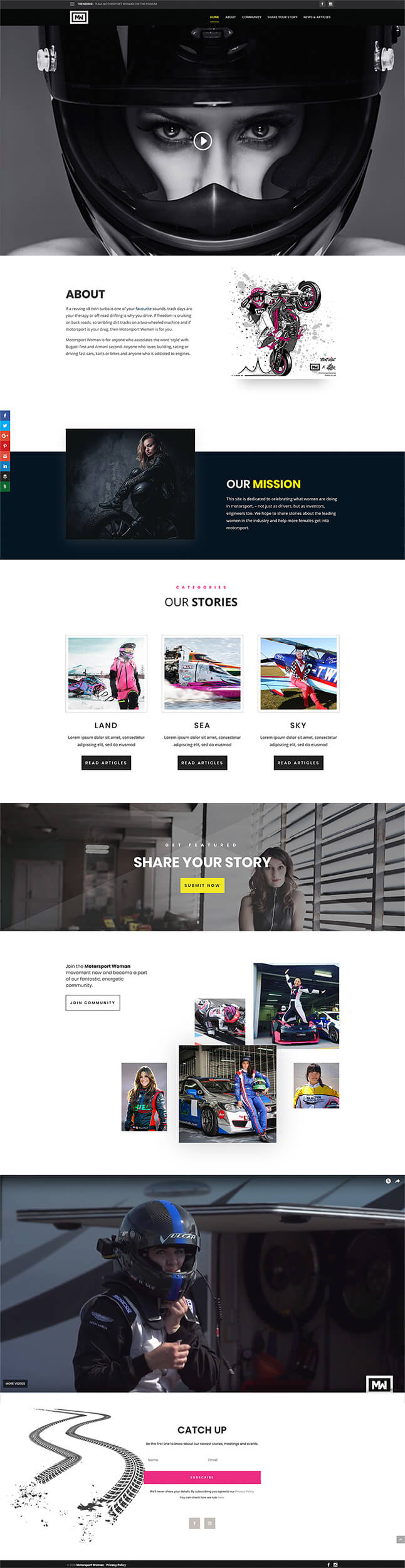 Motorsport Woman - Home Page Design